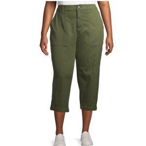 Terra & Sky Green Utility Pocket Capris Crop Pants
